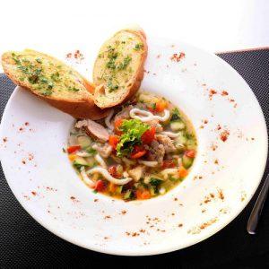 Chicken udon noodle soup: